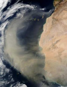 An arc of dust from the Sahara Desert being swept out from western Africa over the Atlantic Ocean.