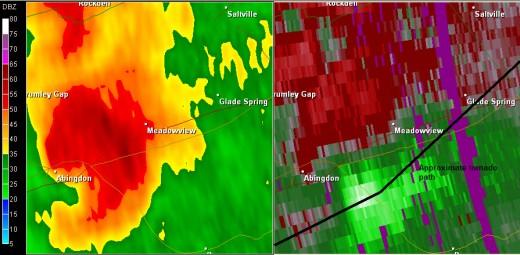 Washington County Doppler Radar image - April 28, 2011
