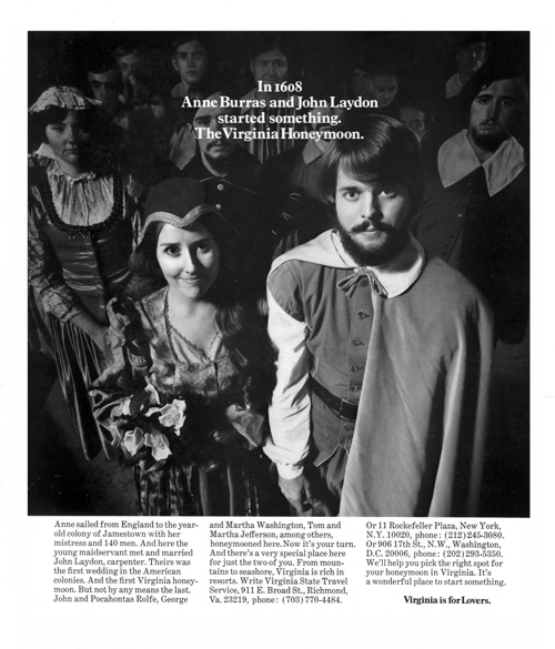 "The first ""Virginia is for Lovers"" advertisement in Modern Bride, June 1969."