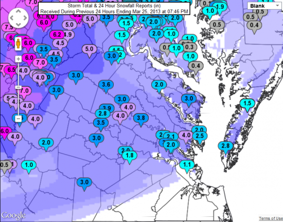 Snow totals from the March 24th storm from the National Weather Service in Wakefield.
