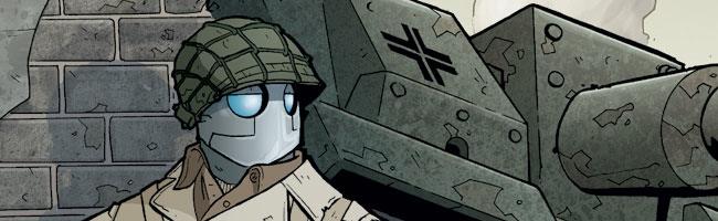 Atomic Robo near tank