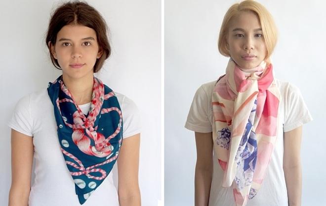 Emerald Grippa scarves side by side