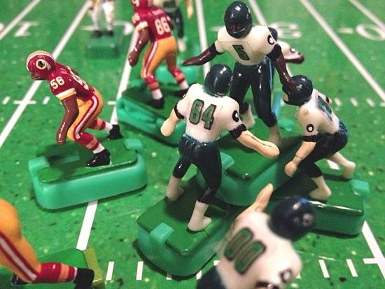 Michael Vick celebrating LeSean McCoy's 34-yard run touchdown run in the 3rd quarter.