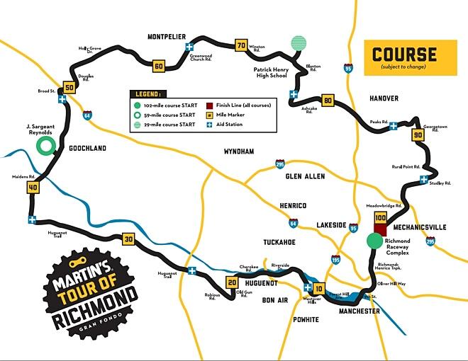 Tour of Richmond course map