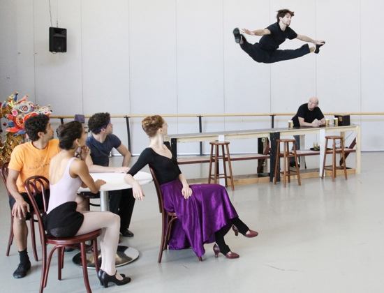 Ballet Master Malcolm Burn watches as Richmond Ballet dancers rehearse Fancy Free. Photo by Sarah Ferguson.