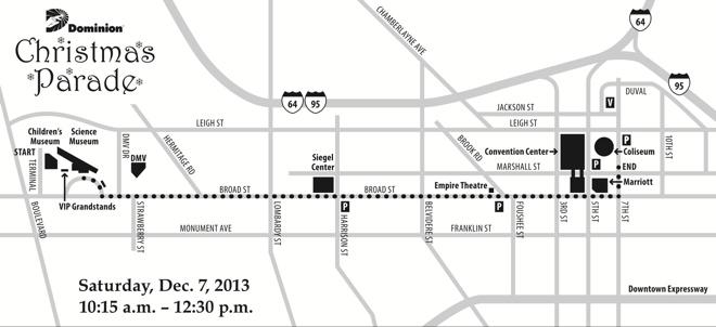 2013 Christmas Parade map