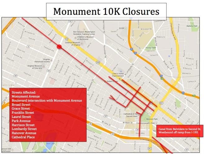 Monument 10k closures