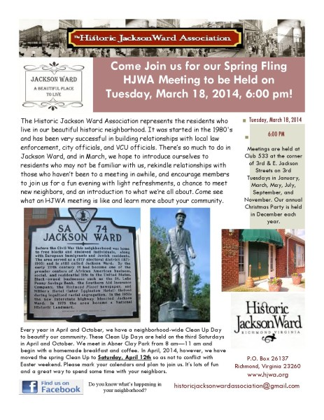 HJWA March Meeting Flyer
