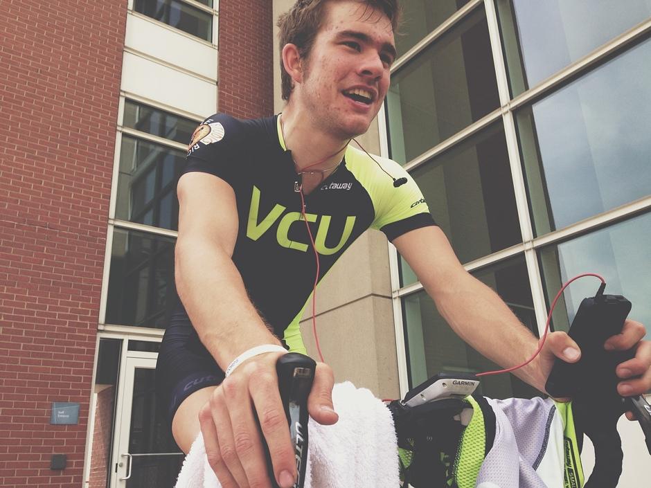 Chris Jones warming up for VCU.