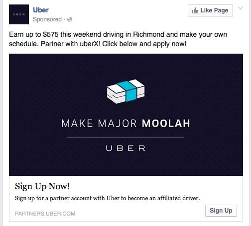 Uber message