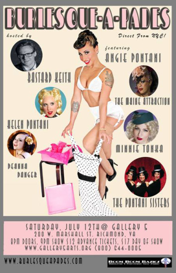 Burlesque-A-Pades at Gallery 5 event flyer