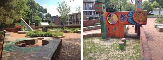 Concrete shapes adorned with super cool art-doodles and silly words are what make this park worth a look.
