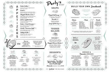Perly's Menu - apps and sandwiches