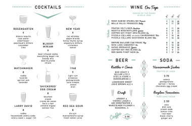 Perly's menu - cocktails and beer