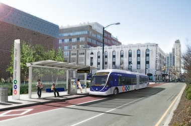 RVA Rapid Transit rendering of what a bus rapid transit system might look like on Broad and 7th streets.