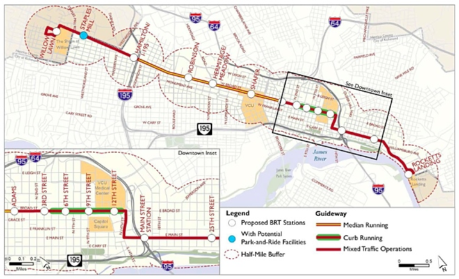 Recommended bus rapid transit map from the The Broad Street Rapid Transit Study (2009)