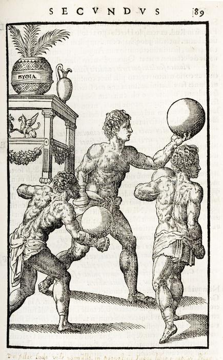 De Arte Gymnastica, p 89 - Showing men using medicine balls.