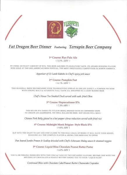 Fat Dragon Terrapin Beer Dinner