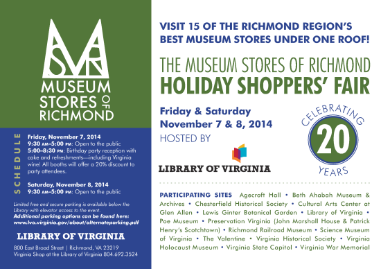 2014 Museum Stores of Richmond Holiday Shoppers' Fair flyer