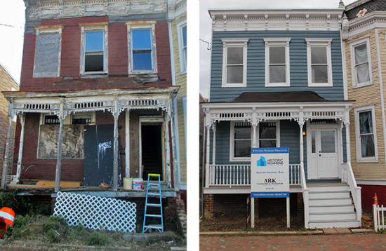 617 St. Peter Street before and after renovation work.