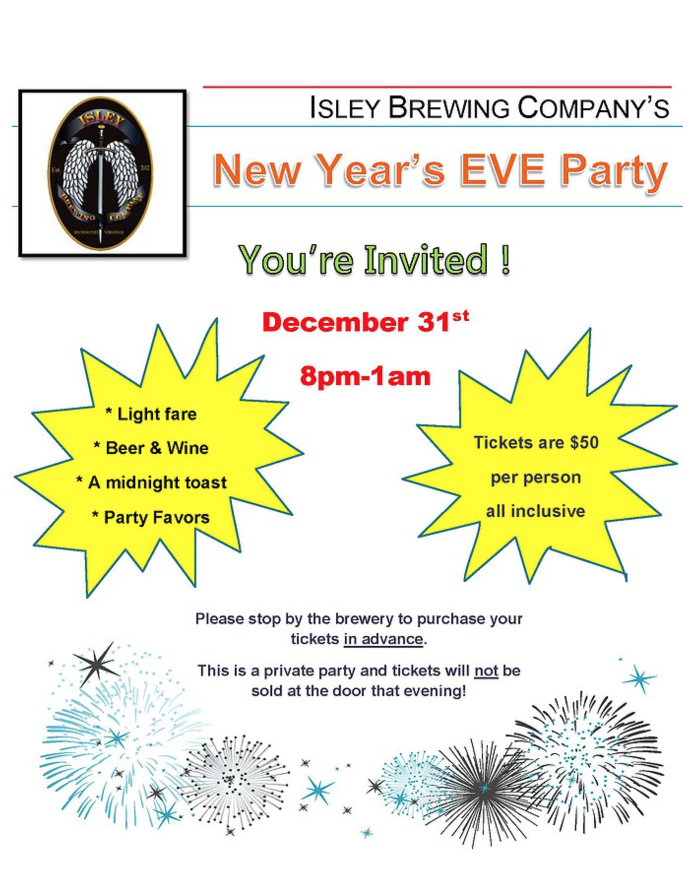 Isley Brewing Company New Year's Eve