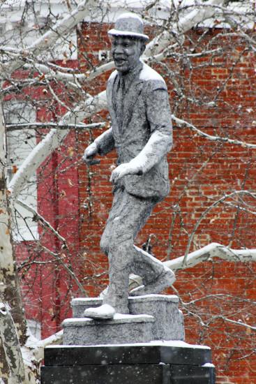 Snow in Jackson Ward, Bojangles Statue