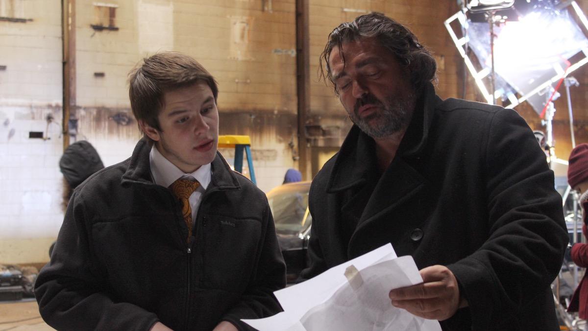 VCUarts student Nicholas Atanasio, Script Supervisor, with Angus Macfadyen.