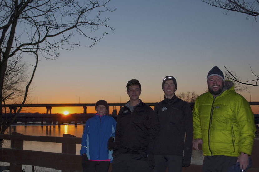 The coldest day in recent history, a sunrise river run, and an RVANews staffer who will not forgive us anytime soon. From left to right: Lauren Eubank, Matt Harris, Austin Harris, and Shane Emmett.