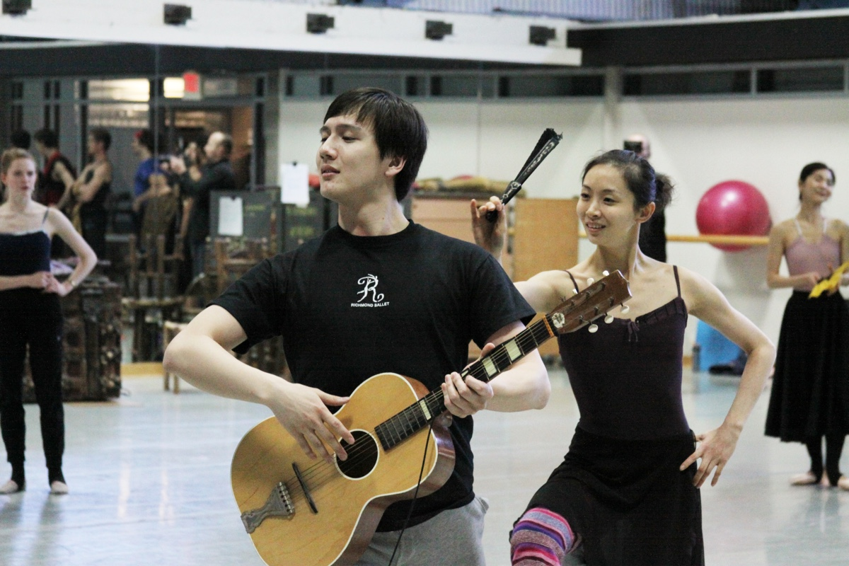 Ma Xiaodong, left, and Wang Ye at rehearsal for Richmond Ballet's 2015 production of Don Quixote. All rights reserved. Photo by Sarah Ferguson.