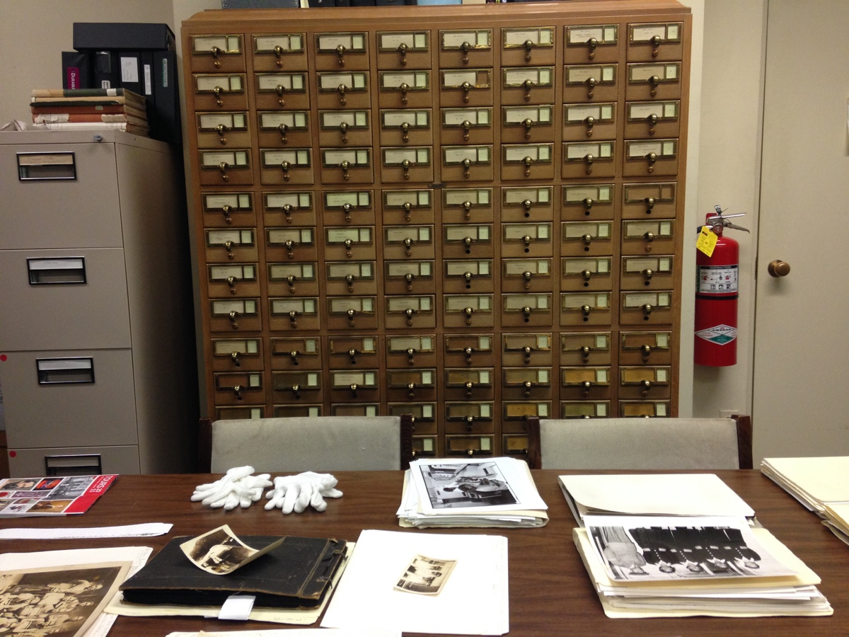 Our research post in the archives after we'd selected some photos.