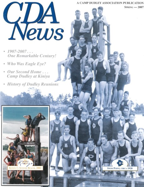 The cover of the alumni newsletter in 2007 featured this photo, an iconic one at camp, featuring my grandfather (halfway up on the right, leaning out with his elbow pointed towards the right of the frame). Thanks to Dave Langston for the photo.