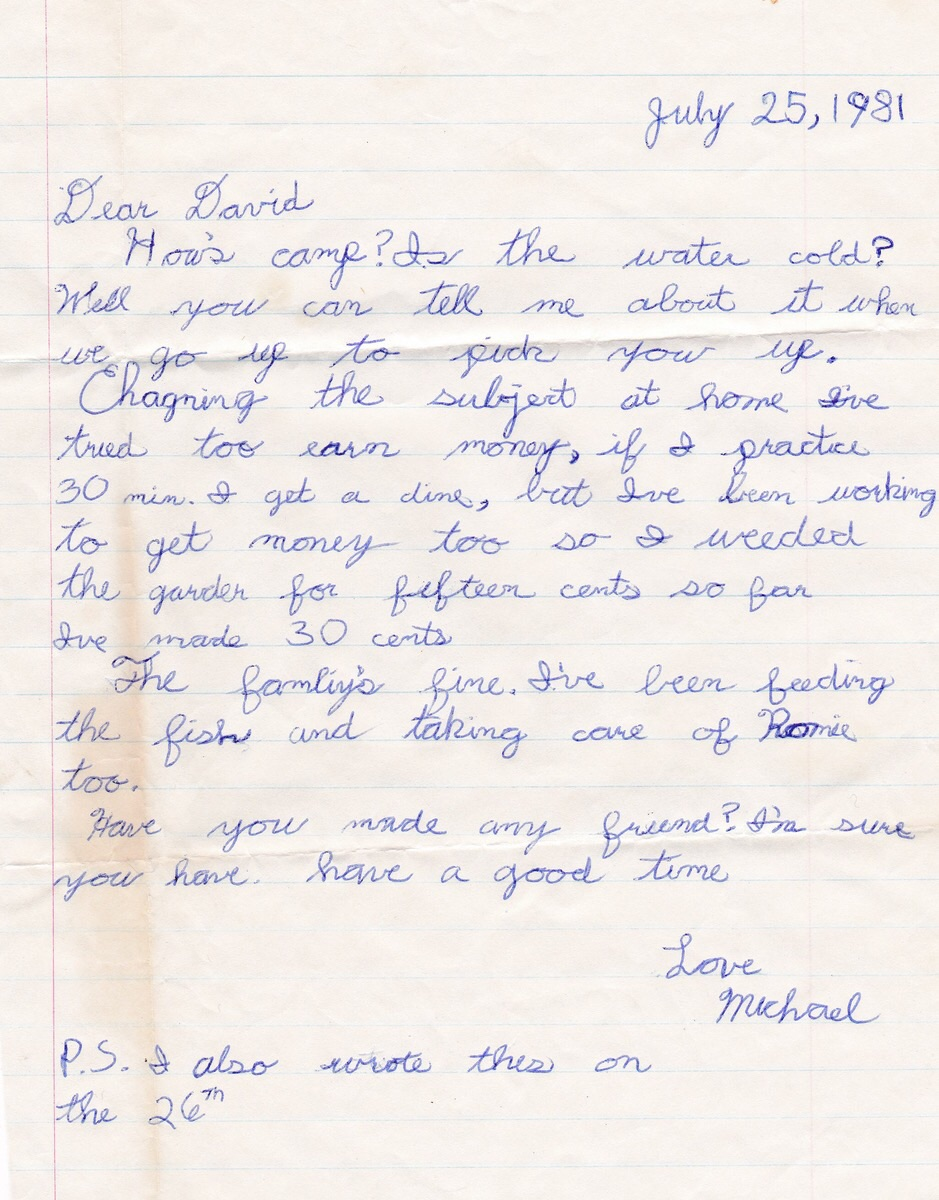 A letter from Michael, 1981.