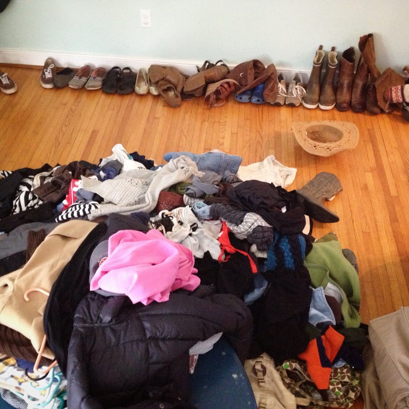 The first day of KonMari is for the clothing, shoes and bags category. Take everything out and put it all in a pile on the ground. This visual information is daunting. Coming face to face with my own excess was in moments troubling. It made letting things go easier, though. To begin, give a shout out to the house itself and start deciding if things spark joy, or not.