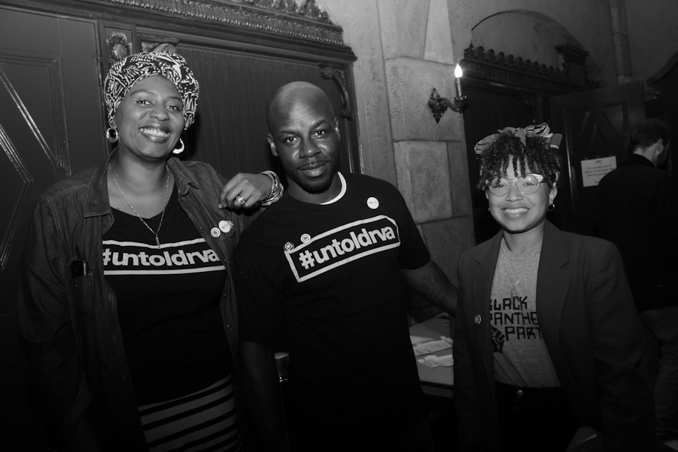 """This crazy mashup of """"uncommon"""" interlopers make their way through the crowd. From left to right: Maat Free (#untoldrva), Rocstagis Frankincense Prince (Nia Dayo Photography), Sadia Pollard (Open High School)"""