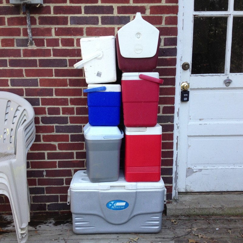 Too many coolers. Too many of a lot of things.We saved three of these, small, medium and large.