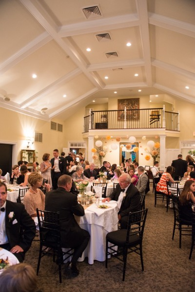 Guests can enjoy dinner indoors in the ballroom, which lies next to the dance floor (not pictured).