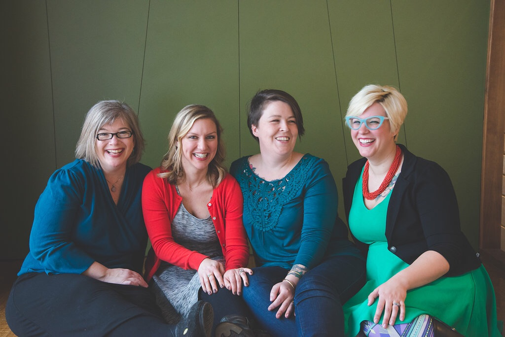 From left to right: Lynn English, Amy Lavelle, Emily Bruno, Jenny Fisher