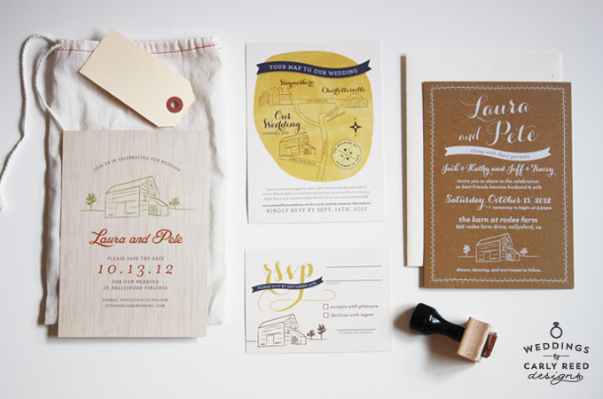 A custom invitation suite for a rustic barn wedding in Nellysford, VA. Photo by Emily Gilbert.