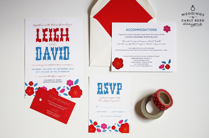 A custom invitation suite for a wedding with a Mexican fiesta theme in Sandbridge, Virginia. Photo by Emily Gilbert.