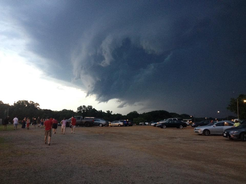 Ominous clouds swirl over City Stadium Saturday evening (Photo: John Mars)