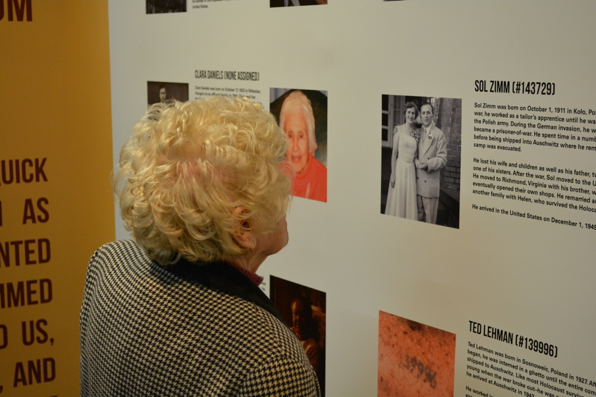 Local Survivor Helen Zimm examines the survivor panel in our Auschwitz exhibit. Helen's late husband, Sol, is one of the featured Auschwitz Survivors whose story is told throughout the exhibit.