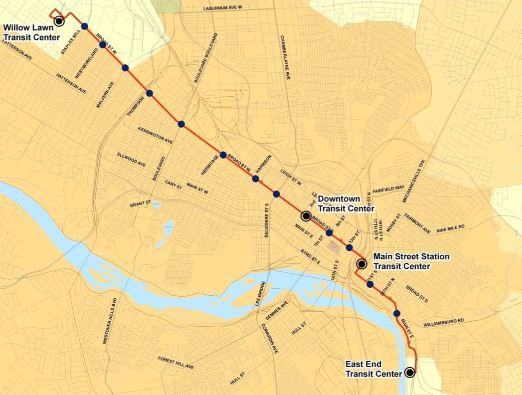 A map of the BRT route that has been available for about 2,500 days.