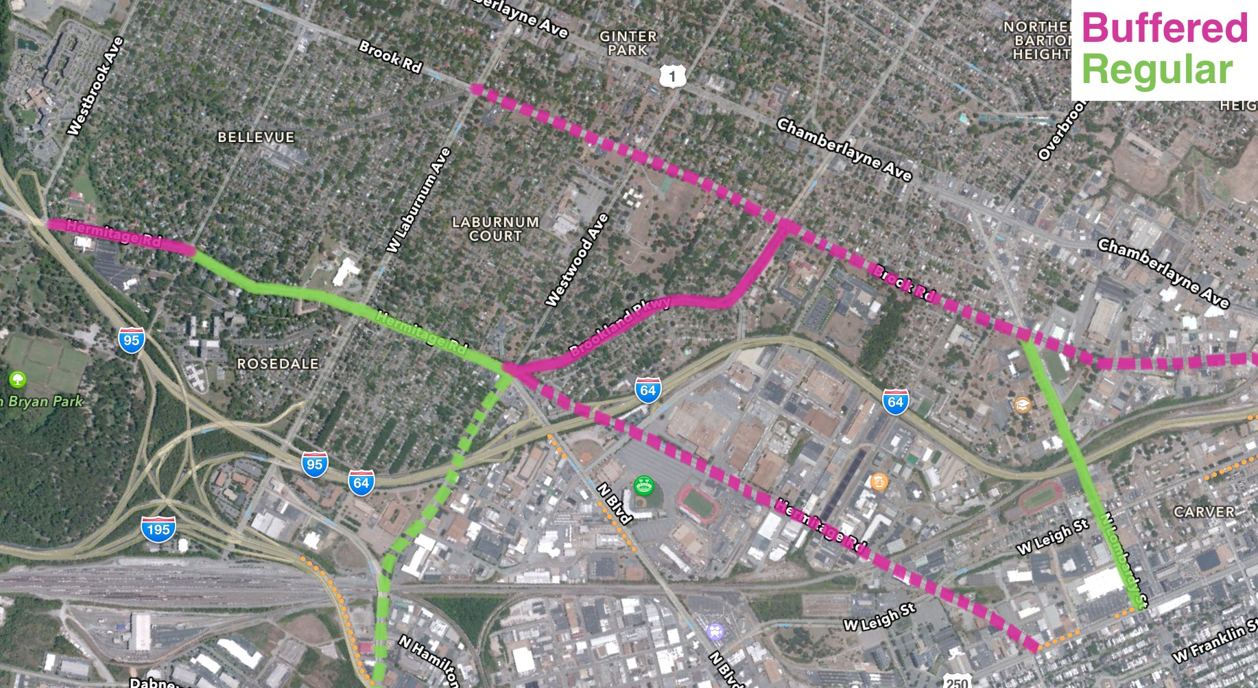 Buffered bike lanes in pink, regular bike lanes in green, suggested/future project in dotted.