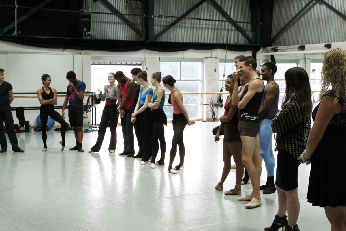 "Dancers introduce themselves at In Studio rehearsal of ""Stolen Moments."" Photo by Sarah Ferguson."