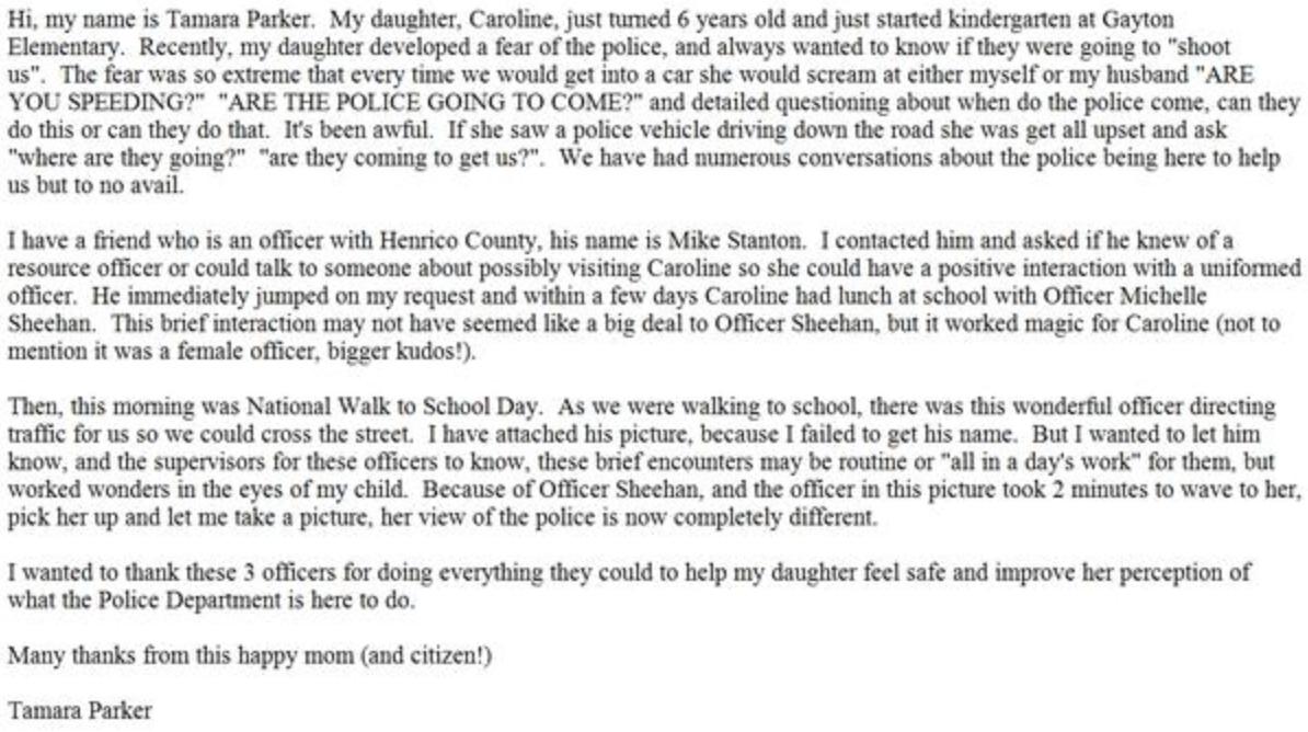 Tamara Parker Henrico Police Letter